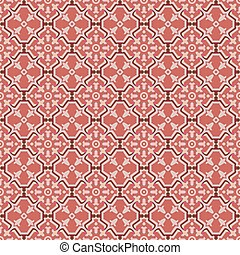 Seamless background image of vintage red geometry cross frame flower.