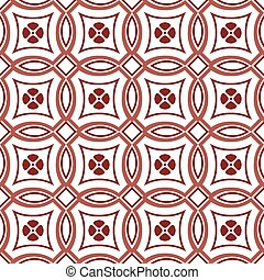Seamless background image of vintage red round cross flower pattern.