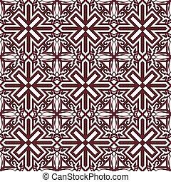 Seamless background image of vintage red spiral cross kaleidoscope pattern.