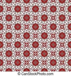 Seamless background image of vintage red spiral kaleidoscope pattern.