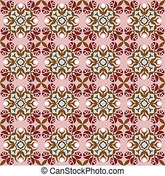 Seamless background image of vintage rose flower geometry kaleidoscope pattern.