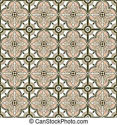 Seamless background image of vintage round circle cross geometry pattern.