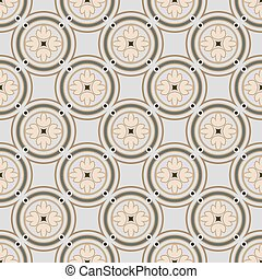 Seamless background image of vintage round circle frame cross flower