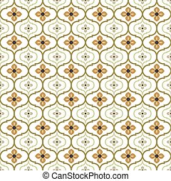 Seamless background image of vintage round curve flower kaleidoscope pattern.