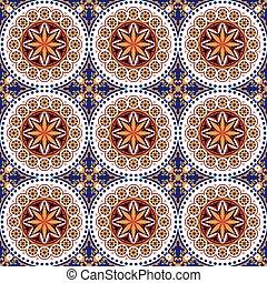 Seamless background image of vintage round dot flower tile pattern.