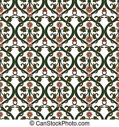 Seamless background image of vintage round spiral flower leaf vine pattern.