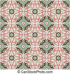 Seamless background image of vintage round spiral flower tile pattern.