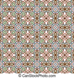 Seamless background image of vintage round square line cross geometry.