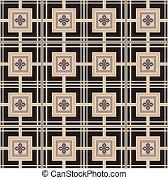 Seamless background image of vintage square cross flower pattern.