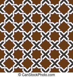 Seamless background image of vintage star geometry cross frame pattern.
