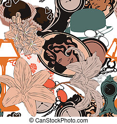 seamless background in art nouveau - Seamless bright...