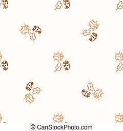 Seamless background ladybug gender neutral pattern. Whimsical minimal earthy 2 tone color. kids nursery wallpaper or boho cartoon insect fashion.