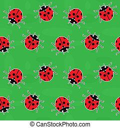 Seamless background - ladybugs on green