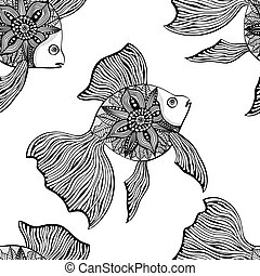 Black and white seamless pattern of small colorful ...