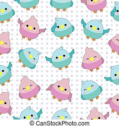Seamless background of baby shower illustration with cute baby birds on pink and blue polka dot background