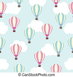 Seamless background of baby shower illustration with cute pink and blue hot air balloon on blue sky suitable for baby wallpaper, postcard and scrap paper
