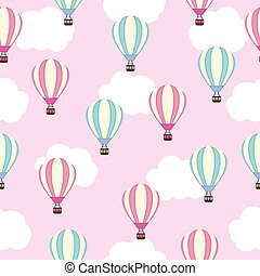 Seamless background of baby shower illustration with cute pink and blue hot air balloon on pink sky suitable for baby wallpaper, postcard and scrap paper