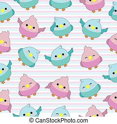 Seamless background of baby shower illustration with cute baby birds on pink and blue stripes background