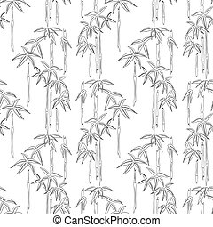 Seamless background of bamboo sketches