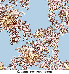 Seamless background of birds nesting on blooming cherry tree