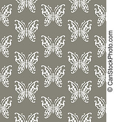Seamless background of butterflies gray and white colors