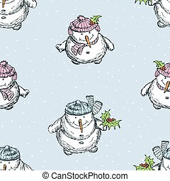 Seamless background of cheerful snowmen in christmas