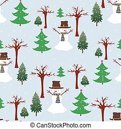 Seamless background of cheerful snowmen in wnter forest on snowy day