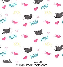 Seamless background of colored Karakul muzzles  cats, hearts d