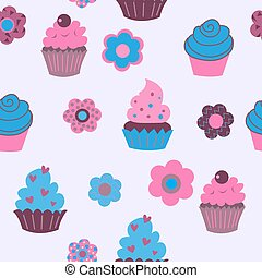 Seamless background of cute decorative cupcakes with flowers