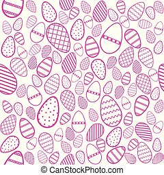 background of decorated pink easter eggs on white