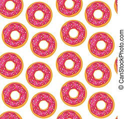 Seamless background of donuts with pastry pads illustration