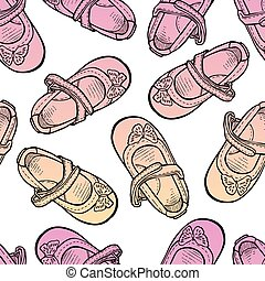 Seamless background of drawn shoes for little girls