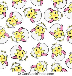 Seamless background of Easter illustration with cute pink baby chick on white background