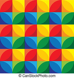 seamless background of geometric circles & squares - vector grap
