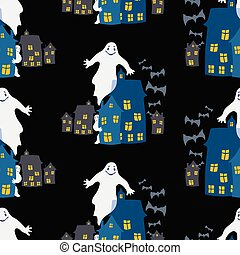 Seamless background of ghosts in the city on Halloween night