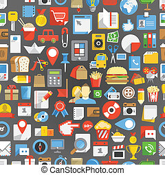 Seamless background of many interface icons