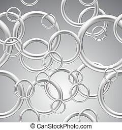 Seamless background of metal rings.