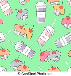 Seamless background of milkshakes and cupcakes.