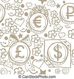 Seamless background of money