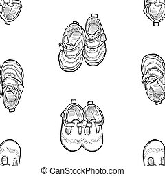 Seamless background of outlines footwear for little kids