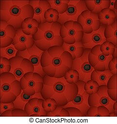 Seamless background of poppies, vector illustration