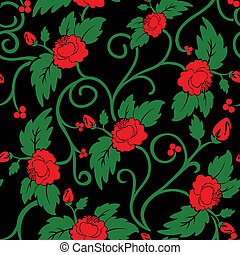 Seamless background of red roses