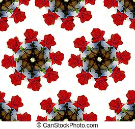 Seamless background of roses in a vase. Circular pattern