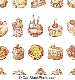 Seamless background of sketches various brownies with fruit and chocolate