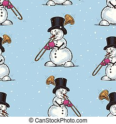 Seamless background of snowmen trumpeters