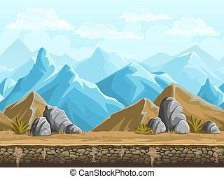 Seamless background of snowy mountains - Seamless background...