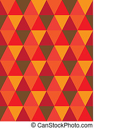 seamless background of triangle & diamond geometric shapes- vector graphic. This illustration consists of repetitive mosaic tiles pattern made of orange, red, brown colors