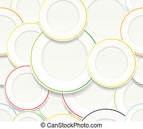 White plates set with colorful rims - Seamless background of...