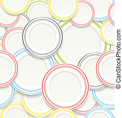 Seamless background of White plates with colorful elements.