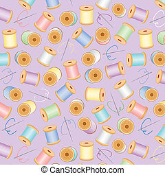 Seamless Background, Pastel Lavender - Needles and spools of...